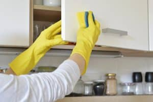Disinfecting kitchen cabinets